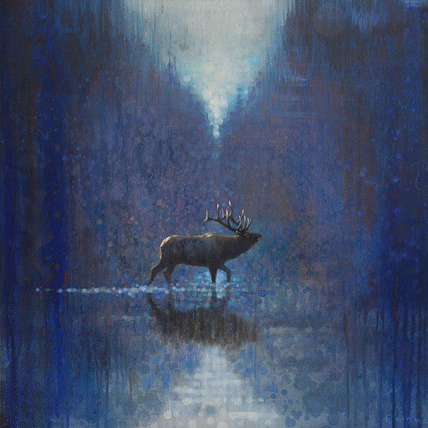 Ewoud-de-Groot-wildlife-art-artist-animals-birds-oil-painting-canvas-exhibition-Crossing-Elk