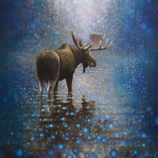 Ewoud-de-Groot-wildlife-art-artist-animals-birds-oil-painting-canvas-exhibition-Moose