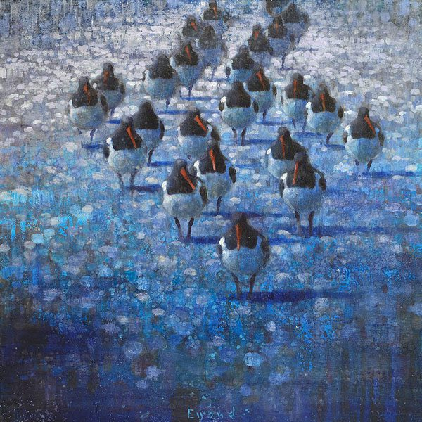 Ewoud-de-Groot-wildlife-art-artist-animals-birds-oil-painting-canvas-exhibition-Oystercatchers-in-Blue