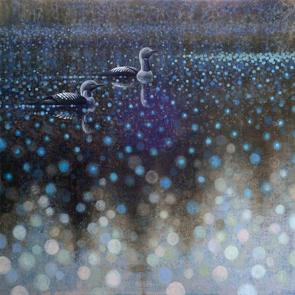 Ewoud-de-Groot-wildlife-art-artist-animals-birds-oil-painting-canvas-exhibition-Pacific-loons