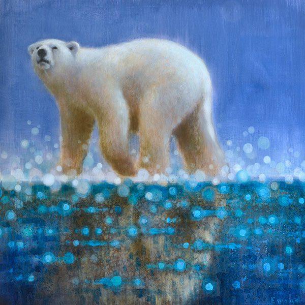 Ewoud-de-Groot-wildlife-art-artist-animals-birds-oil-painting-canvas-exhibition-Polarbear-3