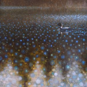 Ewoud-de-Groot-wildlife-art-artist-animals-birds-oil-painting-canvas-exhibition-Reflecting-loon