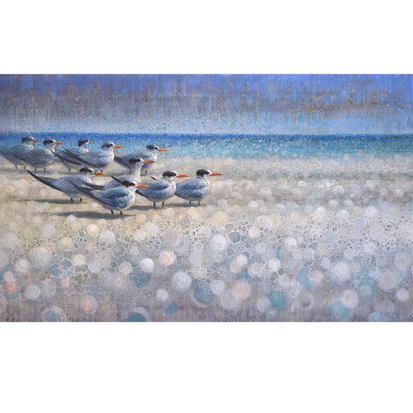 Ewoud-de-Groot-wildlife-art-artist-animals-birds-oil-painting-canvas-exhibition-Resting-Terns