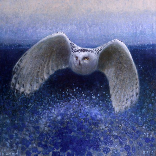 Ewoud-de-Groot-wildlife-art-artist-animals-birds-oil-painting-canvas-exhibition-Snow Owl