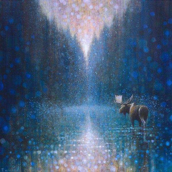 Ewoud-de-Groot-wildlife-art-artist-animals-birds-oil-painting-canvas-exhibition-Wading-Moose-3