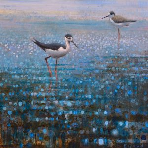 Ewoud-de-Groot-wildlife-art-artist-animals-birds-oil-painting-canvas-exhibition-Wading-Stilts