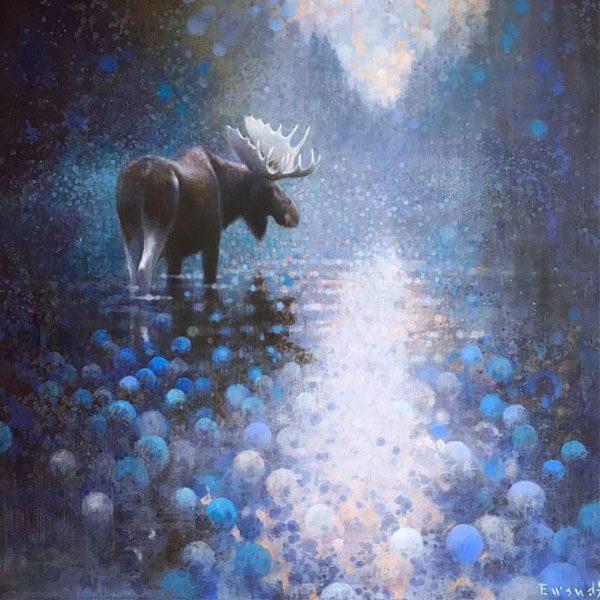 Ewoud-de-Groot-wildlife-art-artist-animals-birds-oil-painting-canvas-linen-Crossing-moose-2