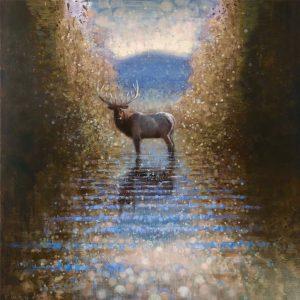 Ewoud-de-Groot-wildlife-art-artist-animals-birds-oil-painting-canvas-linen-Forest-stream-2