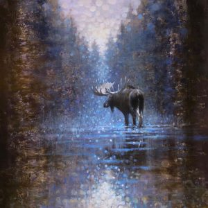 Ewoud-de-Groot-wildlife-art-artist-animals-birds-oil-painting-canvas-linen-Forest-stream