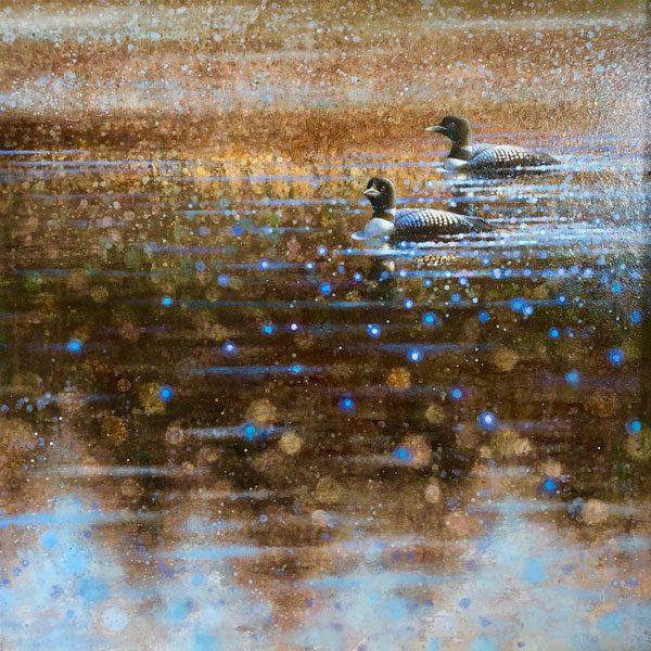 Ewoud-de-Groot-wildlife-art-artist-animals-birds-oil-painting-canvas-linen-Northern-Loons