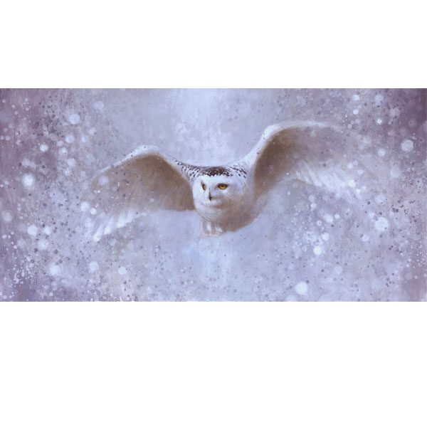 Ewoud-de-Groot-wildlife-art-artist-animals-birds-oil-painting-canvas-linen-Snowy-owl-