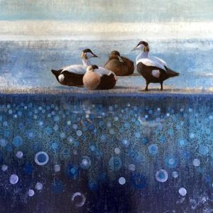 ewoud-de-groot-wildlife-art-artist-animals-birds-oil-painting-canvas-linen-eiders-resting-on-ice