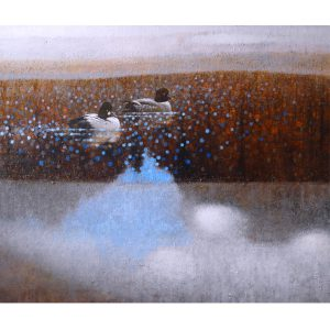 ewoud-de-groot-wildlife-art-artist-animals-birds-oil-painting-canvas-linen-goldeneyes-between-ice