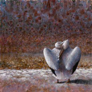 ewoud-de-groot-wildlife-art-artist-animals-birds-oil-painting-canvas-linen-preening-pelican