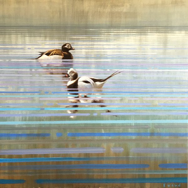 ewoud-de-groot-wildlife-art-artist-animals-birds-oil-painting-canvas-linen-reflecting-oldsquaws