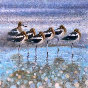 Ewoud-de-Groot-wildlife-art-artist-animals-birds-oil-painting-canvas-linen-resting avocets
