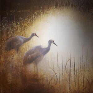 ewoud-de-groot-wildlife-art-artist-animals-birds-oil-painting-canvas-linen-two-cranes
