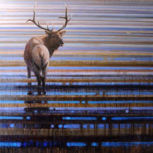 ewoud-de-groot-wildlife-art-artist-animals-birds-oil-painting-canvas-linen-wading-elk