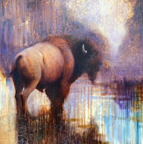ewoud-de-groot-wading-bison-painting-oil-on-linen