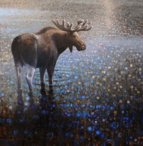 ewoud-de-groot-wading-moose-painting-oil-on-linen