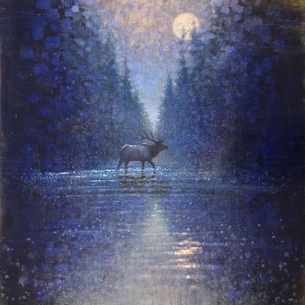 Ewoud-de-Groot-wildlife-art-artist-animals-birds-oil-painting-canvas-linen-crossing-elk-nocturne
